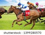 race horses with jockeys on the ... | Shutterstock . vector #1399280570