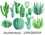 Set Of Watercolor Green Cacti ...