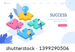 teamwork with puzzle concept.... | Shutterstock .eps vector #1399290506