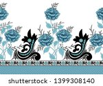 seamless rose flower border on... | Shutterstock . vector #1399308140