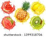 set of fruit juice splash....   Shutterstock . vector #1399318706