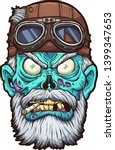 Old Cartoon Zombie Biker Head...