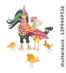 chicken family on white... | Shutterstock .eps vector #1399449536