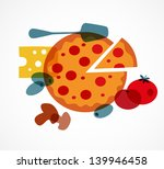 pizza with its ingredients | Shutterstock .eps vector #139946458