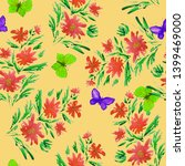floral seamless pattern with... | Shutterstock . vector #1399469000