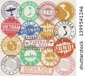 hanoi vietnam set of stamps.... | Shutterstock .eps vector #1399541246