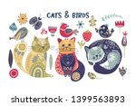 folk art vector cat and bird... | Shutterstock .eps vector #1399563893