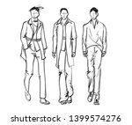 stylish handsome mans in... | Shutterstock .eps vector #1399574276