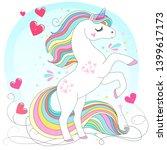 white unicorn rainbow hair.... | Shutterstock .eps vector #1399617173