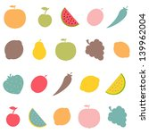 abstract fruits set  vector... | Shutterstock .eps vector #139962004