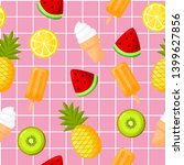 cute tropical fruits  with ice... | Shutterstock .eps vector #1399627856