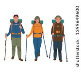 group of hikers with backpacks... | Shutterstock .eps vector #1399649600