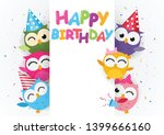 happy birthday with cute owl  | Shutterstock .eps vector #1399666160