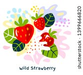 fresh wild strawberry berry...   Shutterstock .eps vector #1399666820
