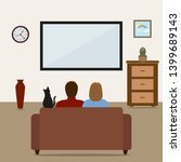 young couple watching a movie....   Shutterstock . vector #1399689143