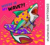 Cartoon Shark Print Comics...