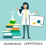 a female scientist  chemist... | Shutterstock .eps vector #1399735313