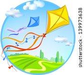 kite and rural landscape....   Shutterstock .eps vector #139973638