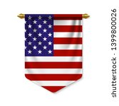 3d Realistic Pennant With Flag...
