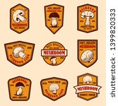 set of emblems with mushrooms.... | Shutterstock .eps vector #1399820333