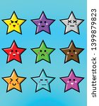 cute cartoon star icon set  ...