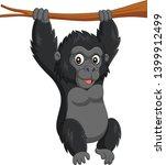 cartoon baby gorilla hanging in ... | Shutterstock .eps vector #1399912499