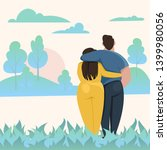 a man and a woman hugging.... | Shutterstock .eps vector #1399980056
