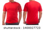 red t shirt mock up  front and... | Shutterstock . vector #1400027723