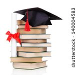 grad hat with diploma and books ... | Shutterstock . vector #140004583