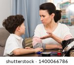mother troubled about behavior... | Shutterstock . vector #1400066786
