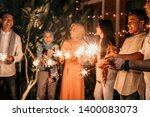 playing firework to celebrate... | Shutterstock . vector #1400083073