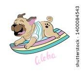 cute pug on a surfboard on a... | Shutterstock .eps vector #1400084543