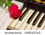 red rose with notes paper on... | Shutterstock . vector #140010763