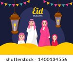 happy arabic family greeting in ... | Shutterstock .eps vector #1400134556