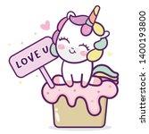 cute unicorn vector sweet cake... | Shutterstock .eps vector #1400193800
