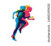 running girls colorful poster... | Shutterstock .eps vector #1400195420