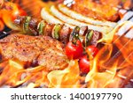 different food on grill with... | Shutterstock . vector #1400197790