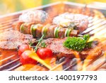 different food on grill with... | Shutterstock . vector #1400197793