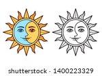 stylized half sun half moon... | Shutterstock .eps vector #1400223329