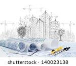 sketching of modern building... | Shutterstock . vector #140023138