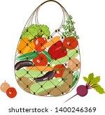 a bag full of vegetables.... | Shutterstock .eps vector #1400246369