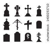 gravestones and tombstones... | Shutterstock .eps vector #1400253710
