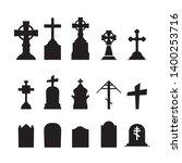 gravestones and tombstones... | Shutterstock .eps vector #1400253716