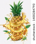 pineapple cut into slices into... | Shutterstock .eps vector #1400284793