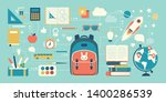 back to school and childhood... | Shutterstock .eps vector #1400286539