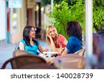 happy friends talking in summer ... | Shutterstock . vector #140028739