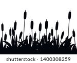 Black Silhouette. Reeds In...