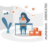 online shopping concept  women... | Shutterstock .eps vector #1400311703