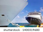 cruise ships docked at port on... | Shutterstock . vector #1400319680