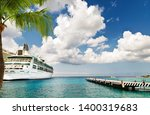 cruise ship docked at port on... | Shutterstock . vector #1400319683